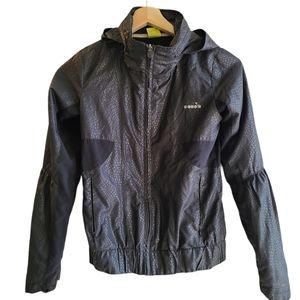 Diadora Black running jacket, windbreaker, XS